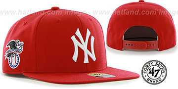 Yankees SURE-SHOT SNAPBACK Red Hat by Twins 47 Brand