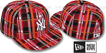 Yankees 'TARTAN PLAID' Red Fitted Hat by New Era