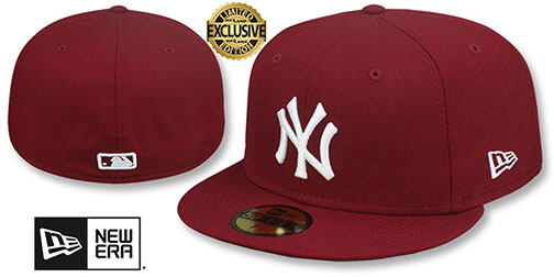 Yankees TEAM-BASIC Burgundy-White Fitted Hat by New Era
