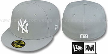 Yankees 'TEAM-BASIC' Grey-White Fitted Hat by New Era