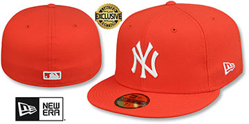 Yankees TEAM-BASIC Orange-White Fitted Hat by New Era