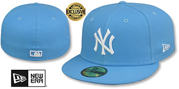 Yankees TEAM-BASIC Sky-White Fitted Hat by New Era