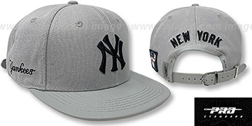 Yankees TEAM-BASIC STRAPBACK Grey Hat by Pro Standard