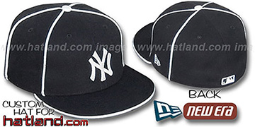 Yankees 'TEAM PIPING-2' Black Fitted Hat by New Era