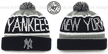 Yankees THE-CALGARY Black-Grey Knit Beanie Hat by Twins 47 Brand