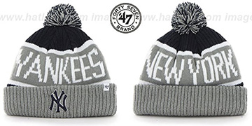 Yankees THE-CALGARY Grey-Navy Knit Beanie Hat by Twins 47 Brand