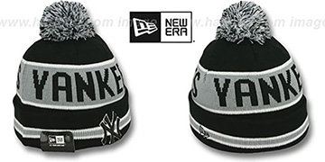 Yankees THE-COACH Black-Grey Knit Beanie Hat by New Era