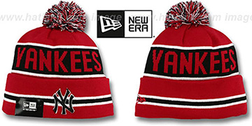 Yankees THE-COACH Red-Black Knit Beanie Hat by New Era-BlackY