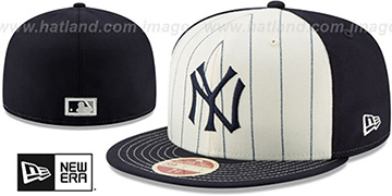 Yankees VINTAGE-STRIPE White-Navy Fitted Hat by New Era