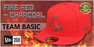 Fire Red-Charcoal Fitted Hats by New Era
