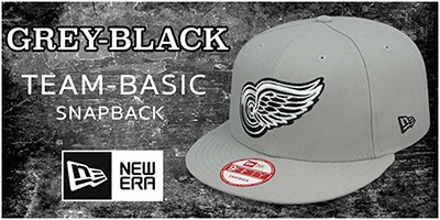 Grey-Black Team-Basic Snapback Hats