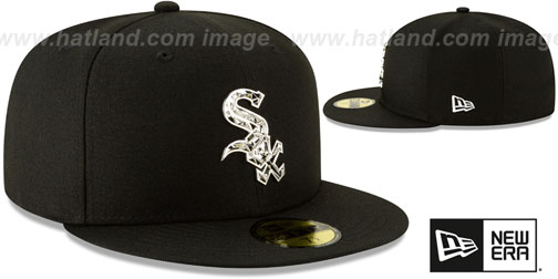 White Sox 'SILVER SHATTERED METAL-BADGE' Black Fitted Hat by New Era