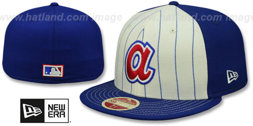 Braves 'VINTAGE-STRIPE' White-Royal Fitted Hat by New Era
