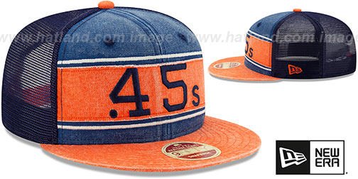 Colt .45s 'COOP HERITAGE-BAND TRUCKER SNAPBACK' Navy-Orange Hat by New Era