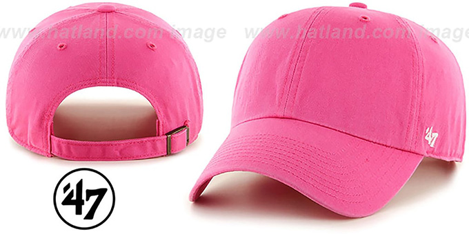 47 'BLANK CLASSIC STRAPBACK' Bright Pink Adjustable Hat : pictured without stickers that these products are shipped with
