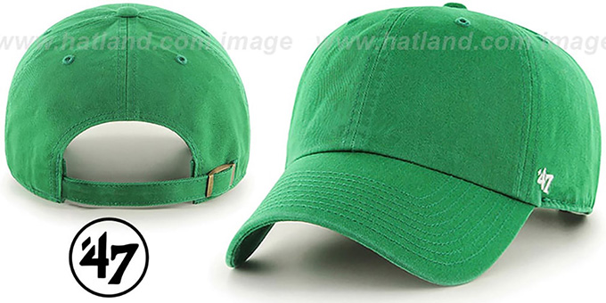 47 'BLANK CLASSIC STRAPBACK' Kelly Green Adjustable Hat : pictured without stickers that these products are shipped with