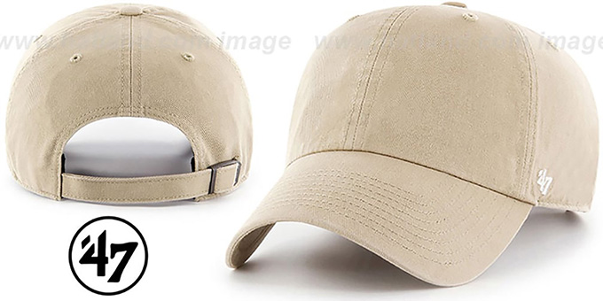 47 'BLANK CLASSIC STRAPBACK' Khaki Adjustable Hat : pictured without stickers that these products are shipped with