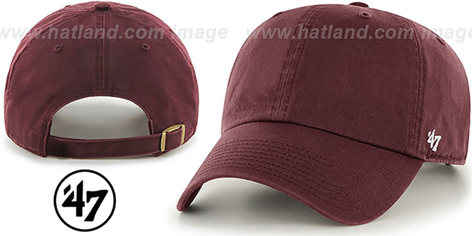 47 'BLANK CLASSIC STRAPBACK' Maroon Adjustable Hat : pictured without stickers that these products are shipped with