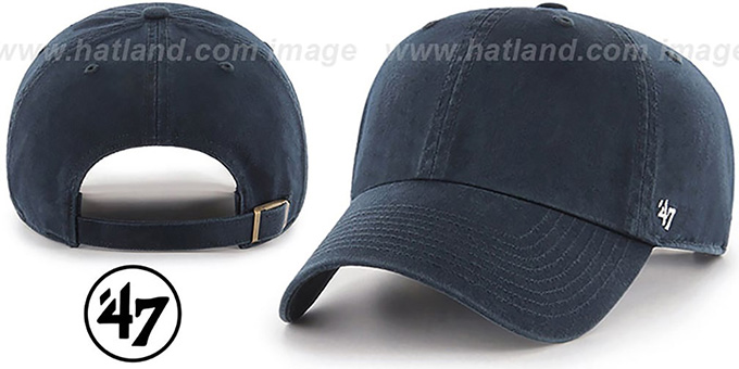 47 'BLANK CLASSIC STRAPBACK' Navy Adjustable Hat : pictured without stickers that these products are shipped with