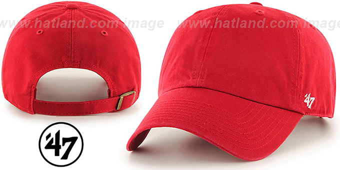47 'BLANK CLASSIC STRAPBACK' Red Adjustable Hat : pictured without stickers that these products are shipped with