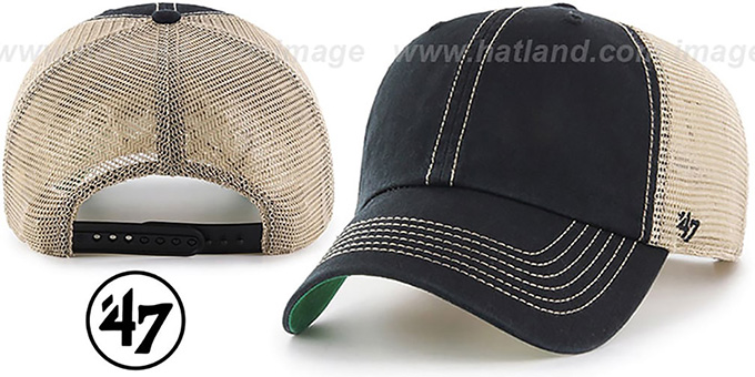 47 'BLANK DIRTY MESH SNAPBACK' Black-Tan Adjustable Hat : pictured without stickers that these products are shipped with