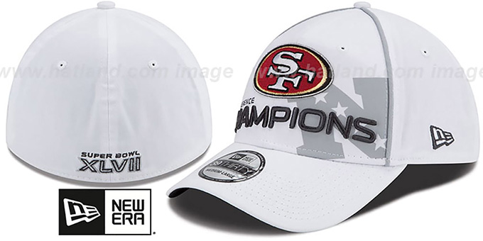 49ers 2012 NFC 'CONFERENCE CHAMPS'Flex Hat by New Era : pictured without stickers that these products are shipped with