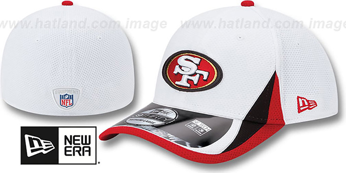 49ers '2013 NFL TRAINING FLEX' White Hat by New Era : pictured without stickers that these products are shipped with