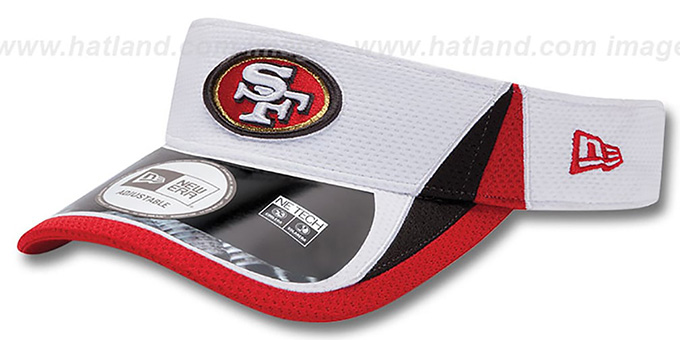 49ers '2013 NFL TRAINING' White Visor by New Era : pictured without stickers that these products are shipped with