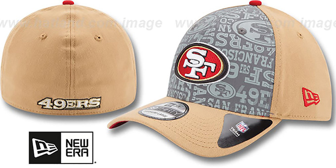 49ers '2014 NFL ALT DRAFT FLEX' Gold Hat by New Era : pictured without stickers that these products are shipped with