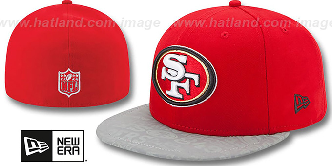 49ers '2014 NFL DRAFT' Red Fitted Hat by New Era : pictured without stickers that these products are shipped with