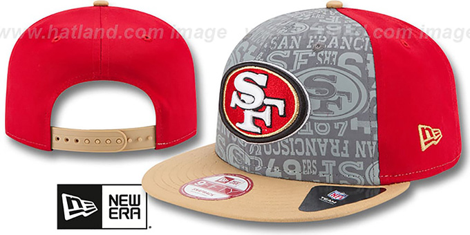 49ers '2014 NFL DRAFT SNAPBACK' Red-Gold Hat by New Era : pictured without stickers that these products are shipped with