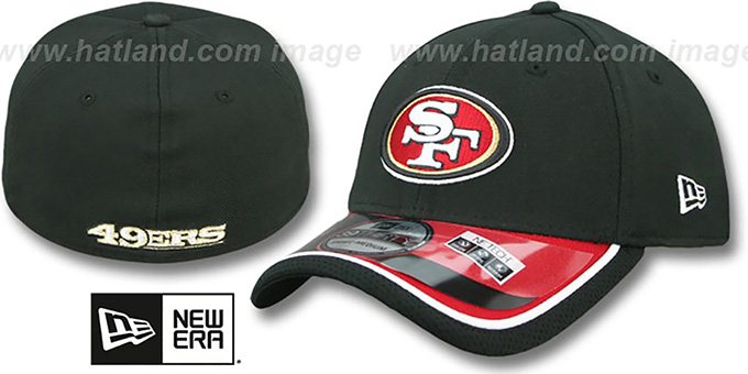 49ers '2014 NFL STADIUM FLEX' Black Hat by New Era : pictured without stickers that these products are shipped with