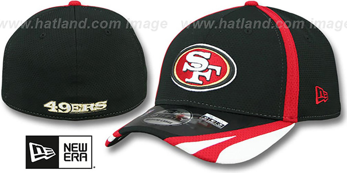 49ers '2014 NFL TRAINING FLEX' Black Hat by New Era : pictured without stickers that these products are shipped with