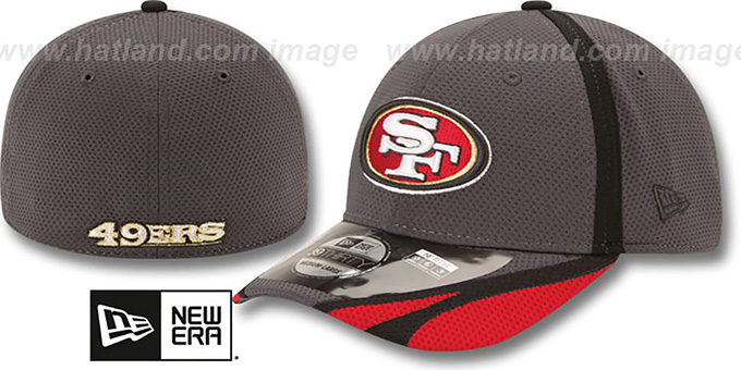 49ers '2014 NFL TRAINING FLEX' Graphite Hat by New Era : pictured without stickers that these products are shipped with