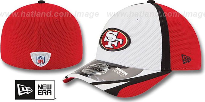 49ers '2014 NFL TRAINING FLEX' White Hat by New Era : pictured without stickers that these products are shipped with