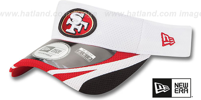 49ers '2014 NFL TRAINING' White Visor by New Era : pictured without stickers that these products are shipped with