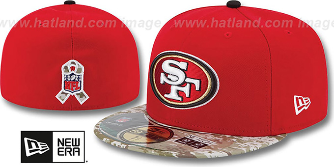 49ers '2014 SALUTE-TO-SERVICE' Red-Desert Fitted Hat by New Era : pictured without stickers that these products are shipped with