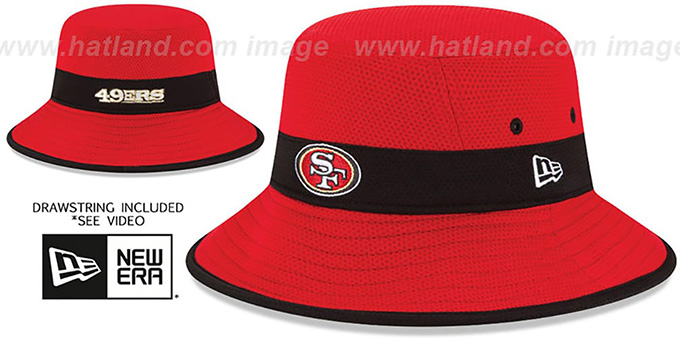49ers '2015 NFL TRAINING BUCKET' Red Hat by New Era : pictured without stickers that these products are shipped with
