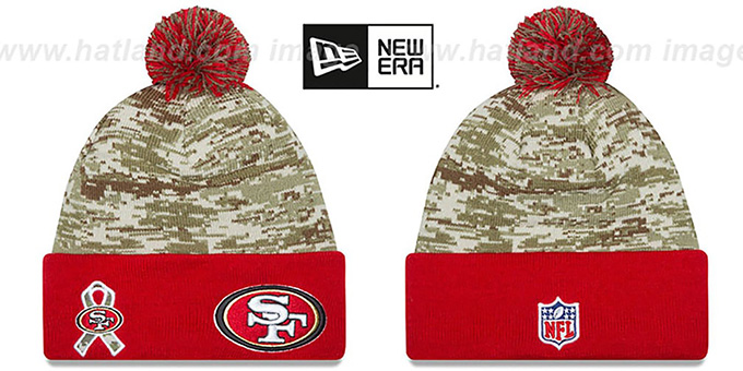 49ers '2015 SALUTE-TO-SERVICE' Knit Beanie Hat by New Era : pictured without stickers that these products are shipped with