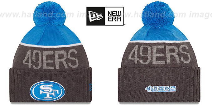 49ers '2015 STADIUM' Charcoal-Blue Knit Beanie Hat by New Era : pictured without stickers that these products are shipped with