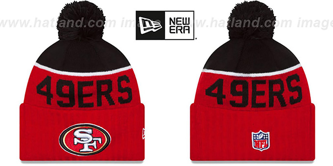 49ers '2015 STADIUM' Red-Black Knit Beanie Hat by New Era : pictured without stickers that these products are shipped with