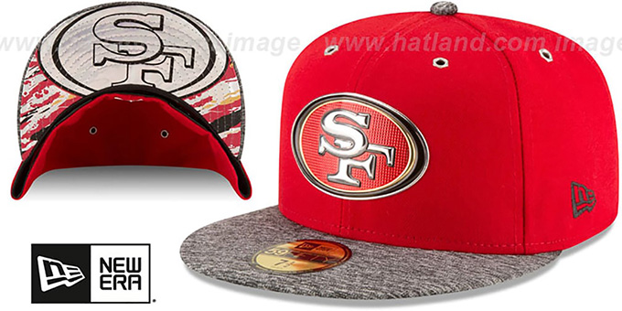 49ers '2016 NFL DRAFT' Fitted Hat by New Era : pictured without stickers that these products are shipped with