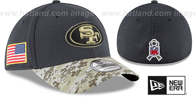 49ers '2016 SALUTE-TO-SERVICE FLEX' Grey-Desert Hat by New Era : pictured without stickers that these products are shipped with