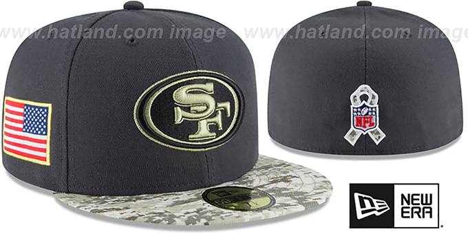 49ers '2016 SALUTE-TO-SERVICE' Grey-Desert Fitted Hat by New Era : pictured without stickers that these products are shipped with