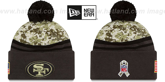 49ers '2016 SALUTE-TO-SERVICE' Knit Beanie Hat by New Era : pictured without stickers that these products are shipped with