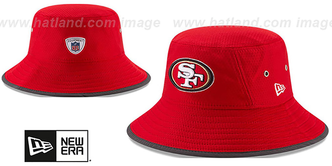 49ers '2017 NFL TRAINING BUCKET' Red Hat by New Era : pictured without stickers that these products are shipped with