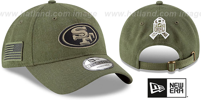 b5beca961 San Francisco 49ers 2018 SALUTE-TO-SERVICE STRAPBACK Olive Hat