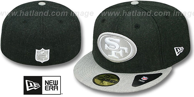49ers '2T-HEATHER ACTION' Charcoal-Grey Fitted Hat by New Era : pictured without stickers that these products are shipped with