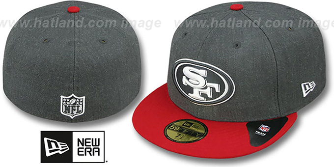49ers '2T-HEATHER' Charcoal-Red Fitted Hat by New Era : pictured without stickers that these products are shipped with