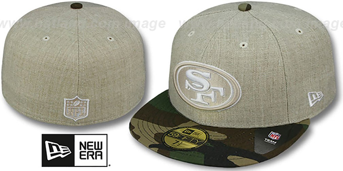 49ers '2T-HEATHER' Oatmeal-Army Fitted Hat by New Era : pictured without stickers that these products are shipped with